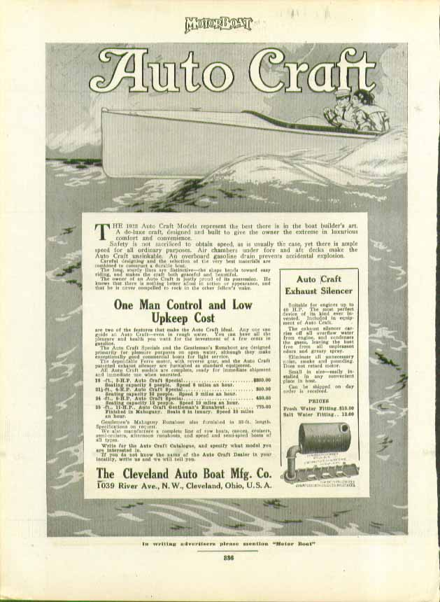 Image for 1912 Auto Craft Models represent the best there is Cleveland Auto Boat ad 1912