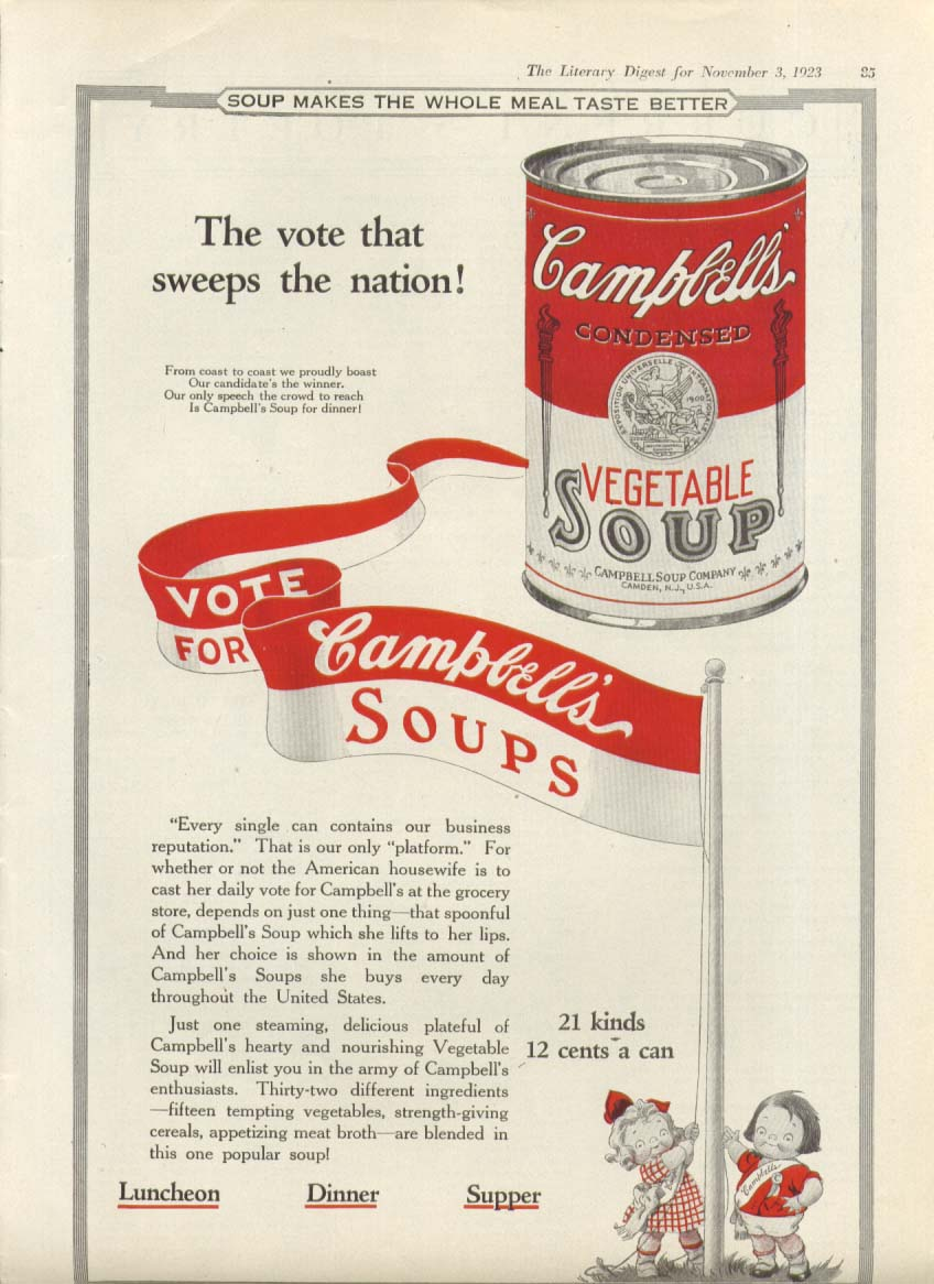 Image for Vote for Campbell's Vegetable Soup ad 1923