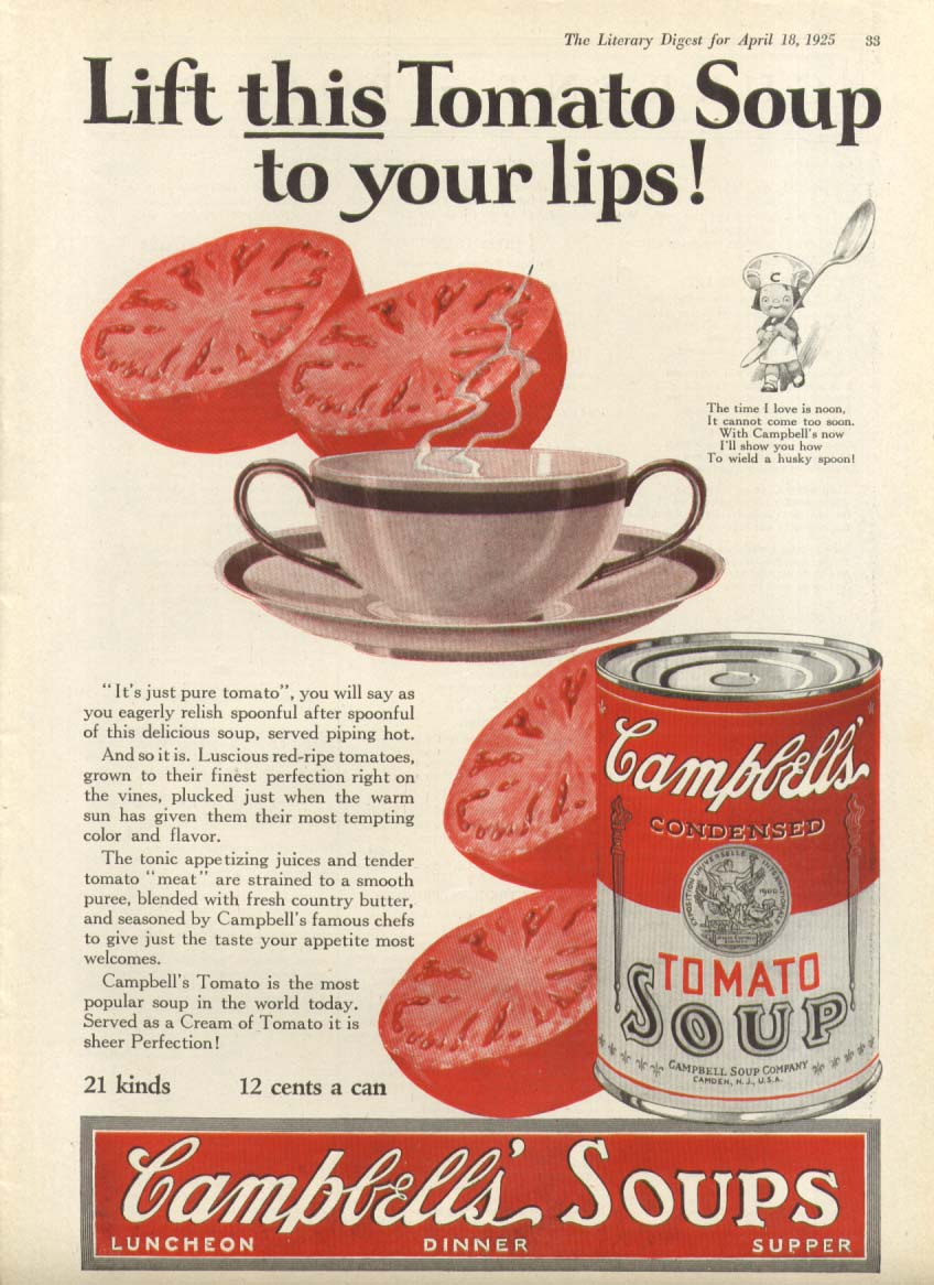 Image for Lift This to Your Lips Campbell's Tomato Soup ad 1925