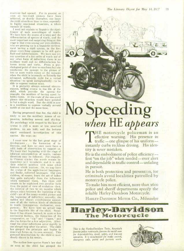 Image for No Speeding whern HE appears Harley-Davidson Motorcycle cop ad 1927