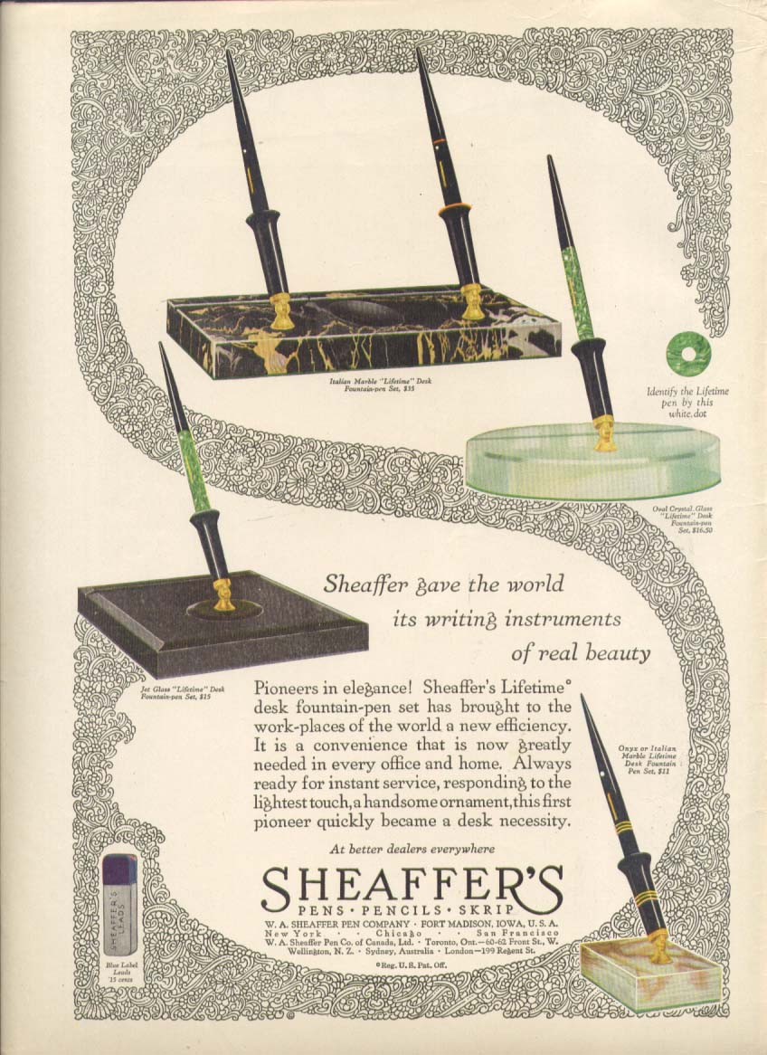 Image for Writing instruments real beauty Sheaffer's pen ad 1928