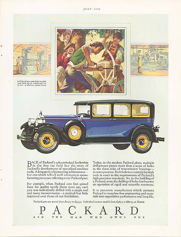 Image for Back of ackowledged leadership Packard 4-dr ad 1928