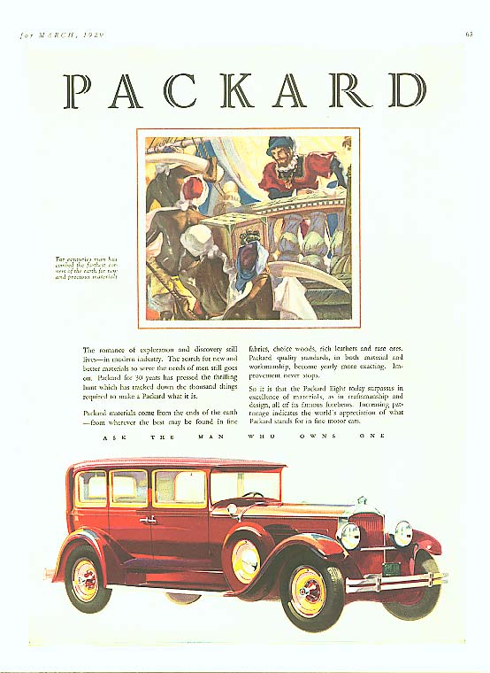 Image for Romance of exploration - Packard 4-dr Sedan ad 1929