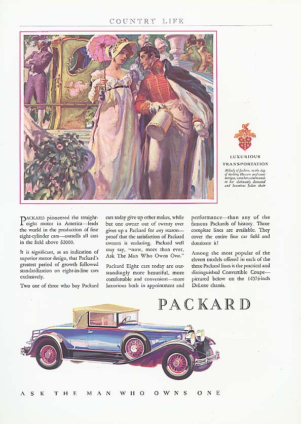 Image for Pioneered straight 8 Packard Convertible Cpe ad 1931