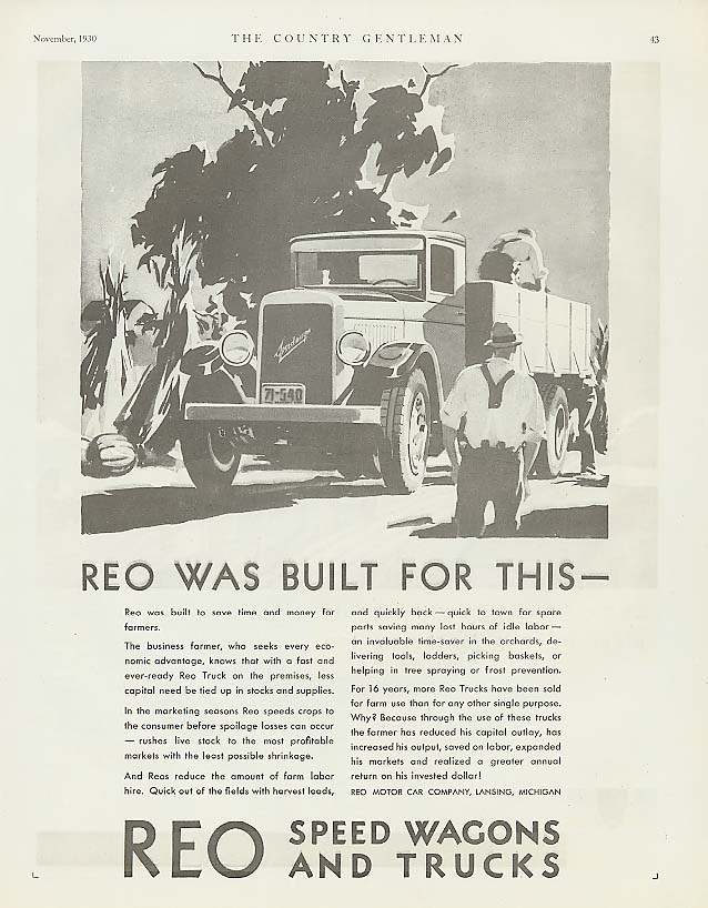 Image for Reo was built for this: Reo Speed-Wagon ad 1931