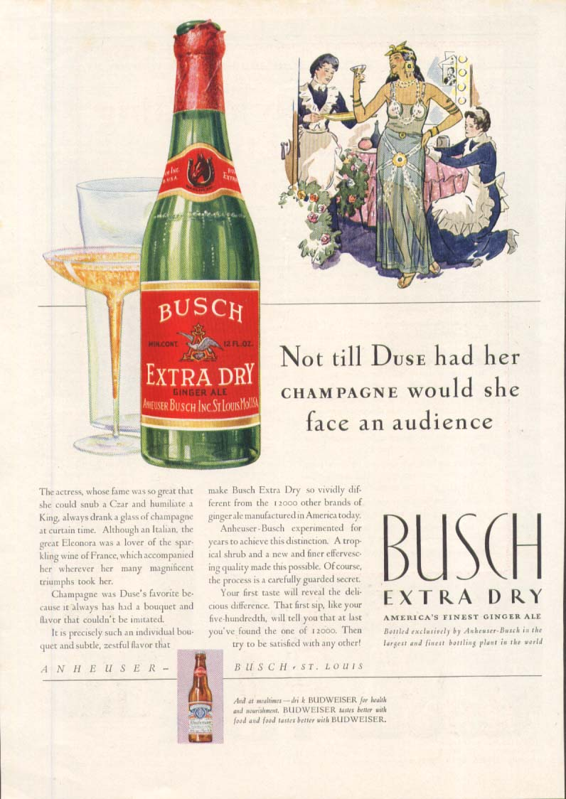 Image for Busch Extra Dry Ginger Ale Duse ad 1931