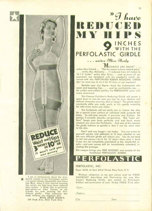 Image for I have reduced my hips 9 inches with Perforlastic Girdle ad 1932
