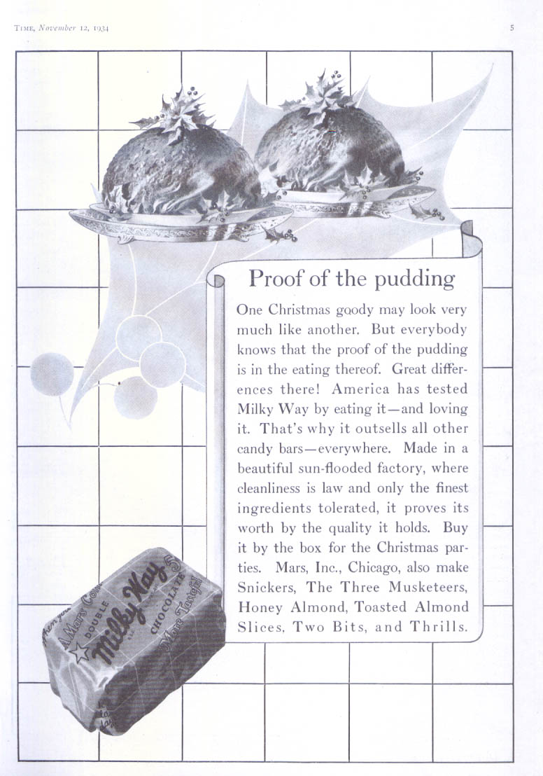 Image for Proof of the pudding Milky War candy bar ad 1934