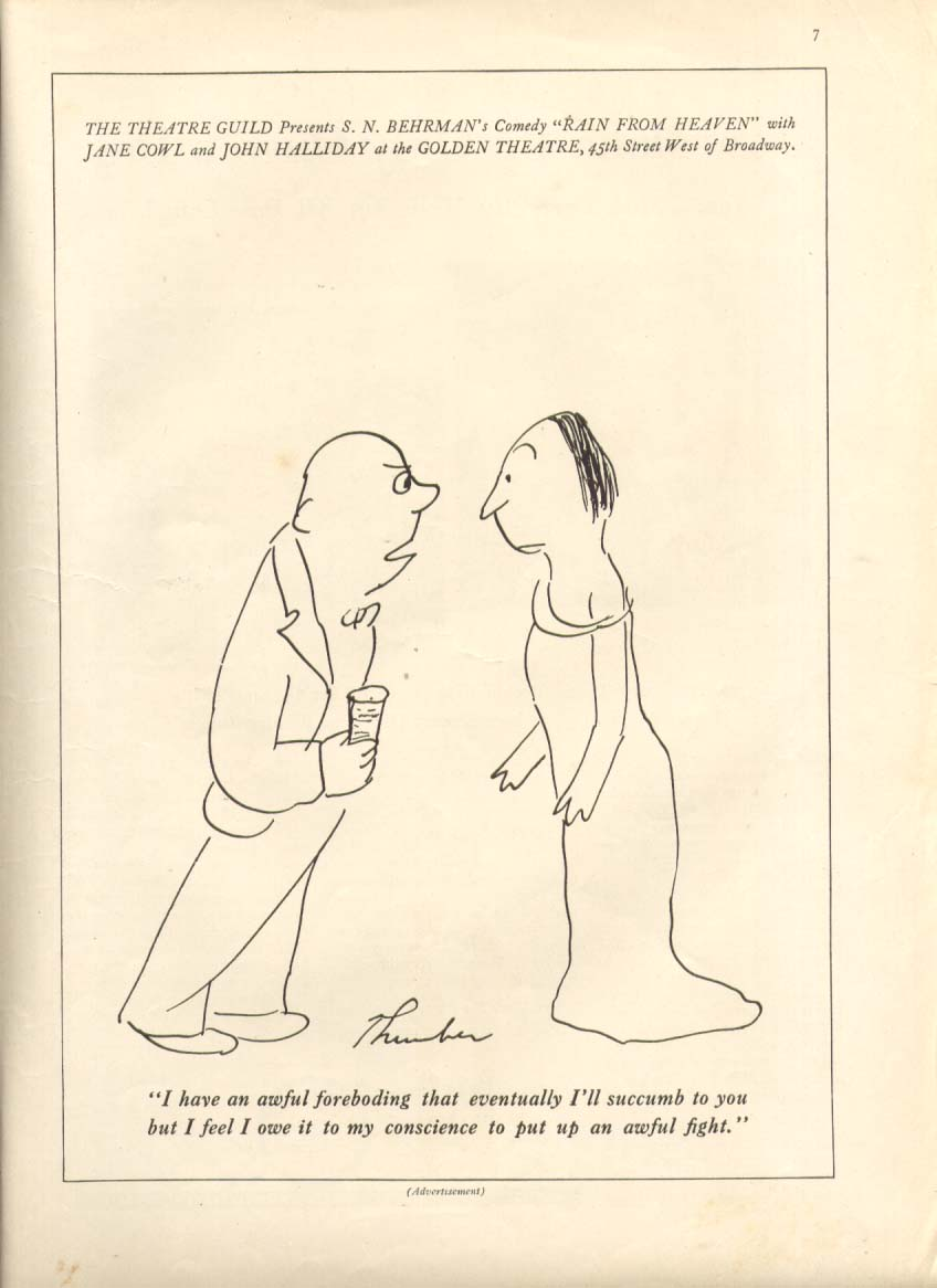 Image for Behrman's Rain from Heaven ad James Thurber 1935 #1
