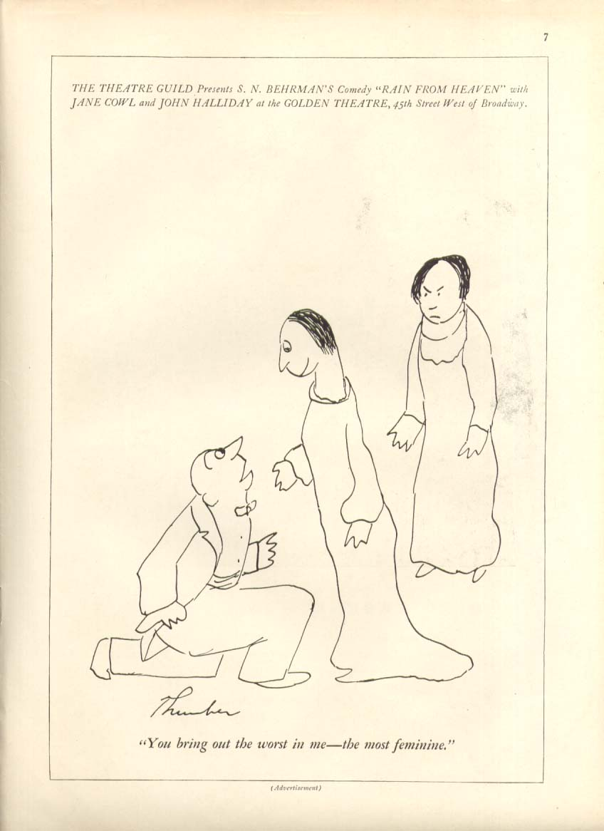 Image for Behrman's Rain from Heaven ad James Thurber 1935 #2