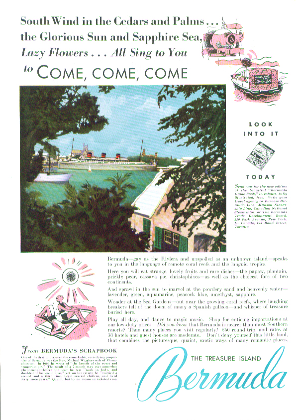 Image for South Wind in the Cedars - Bermuda ad 1935