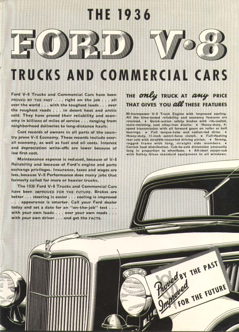 Image for Ford V8 truck proved past improved for future ad 1936