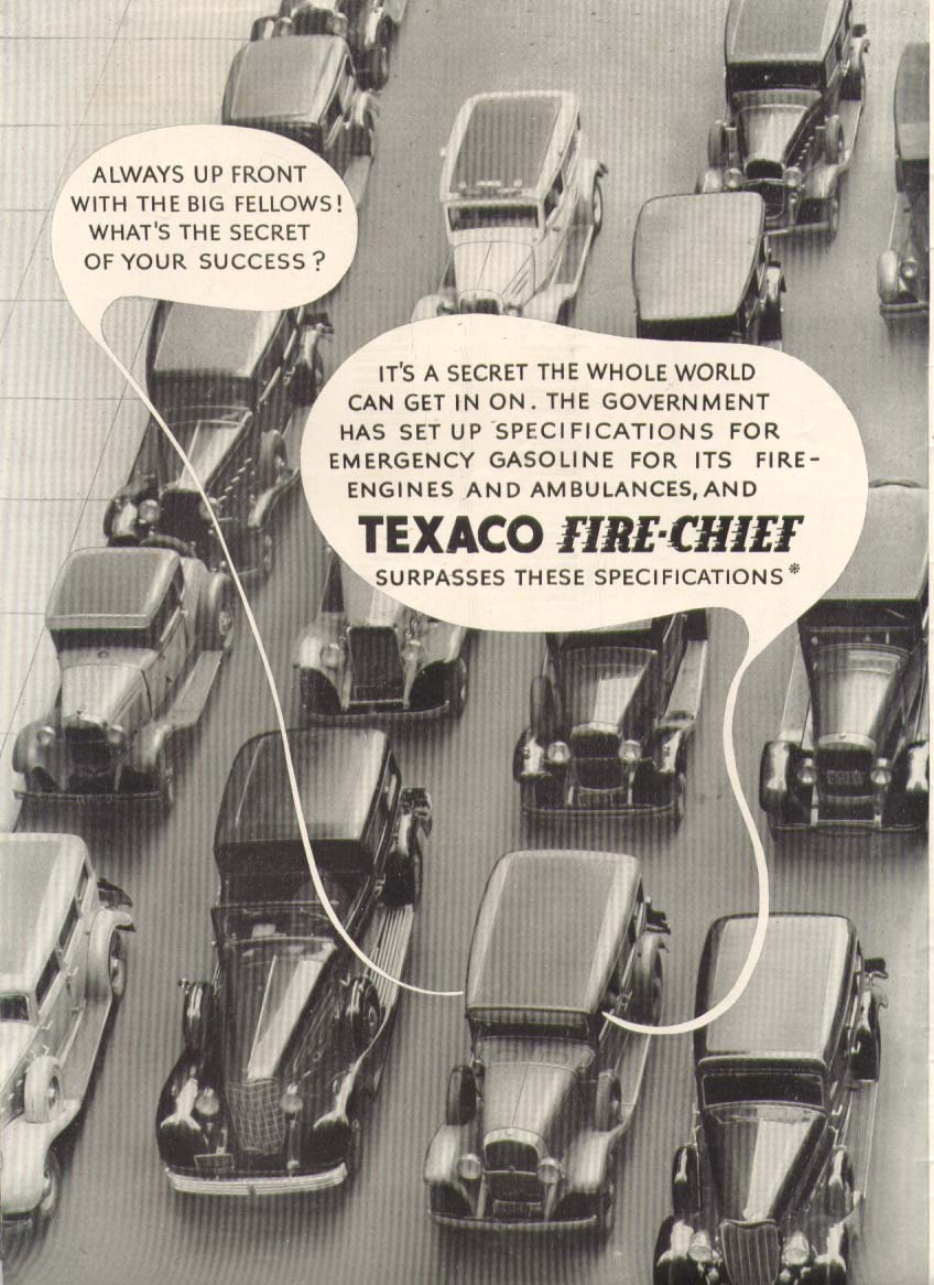 Image for Texaco Fire-Chief up front with the big fellows ad 1935