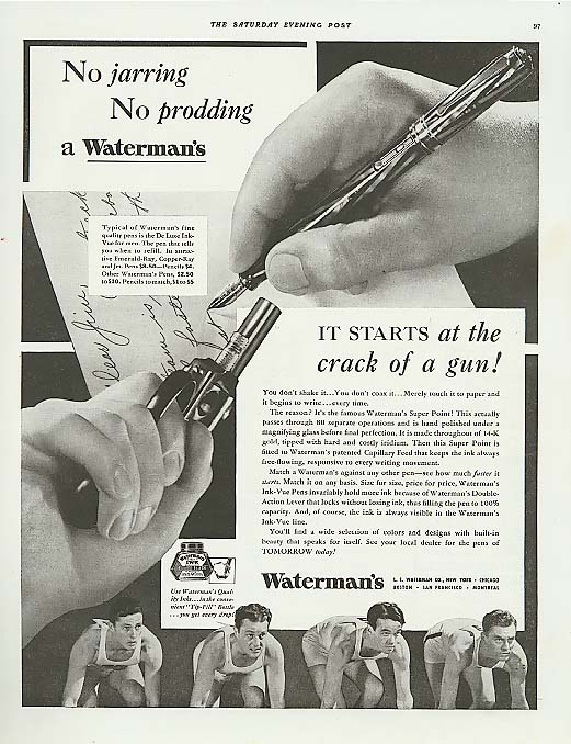 Image for No jarring no prodding Waterman's Fountain Pen ad 1937