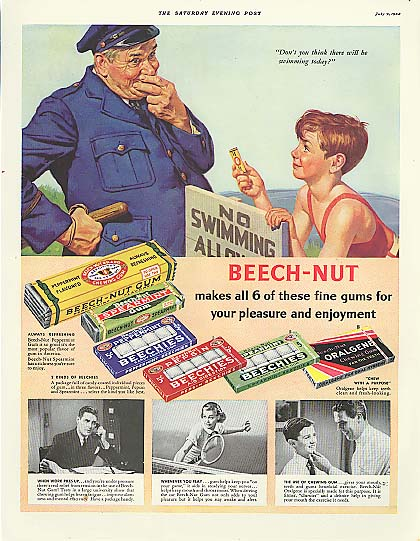 Image for Beech-Nut Gum cop & kid No Swimming sign ad 1938