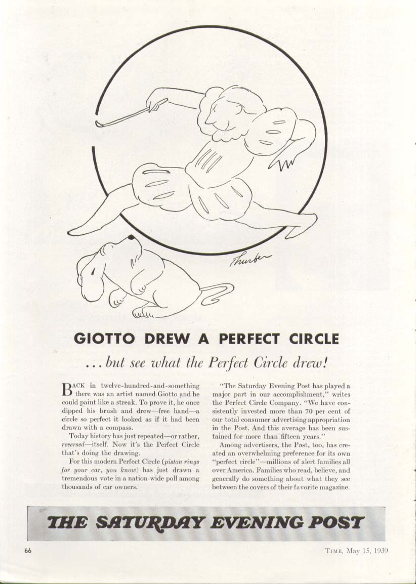 Image for Giotto Drew Saturday Evening Post ad 1939 Thurber