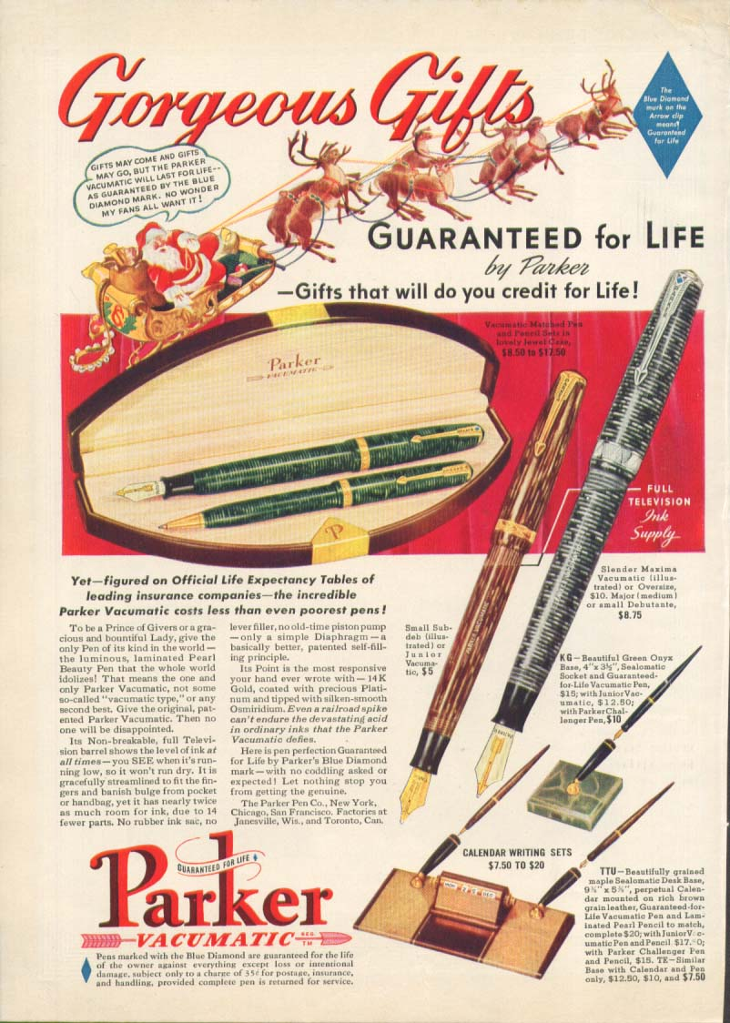 Image for Gorgeous Gifts Parker Vacumatic pen ad 1939 Xmas