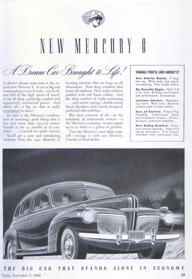 Image for A Dream Car Borught to Life! Mercury ad 1940