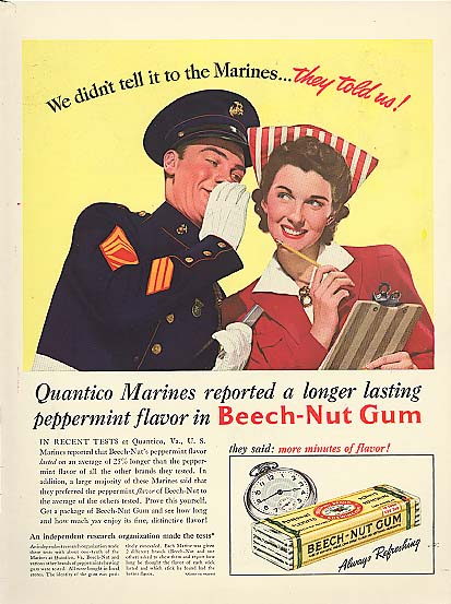 Image for Dont tell Marines they told us Beech-Nut Gum ad 1941