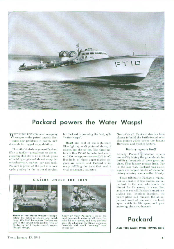 Image for Packard powers the Water Wasps PT boats ad 1941