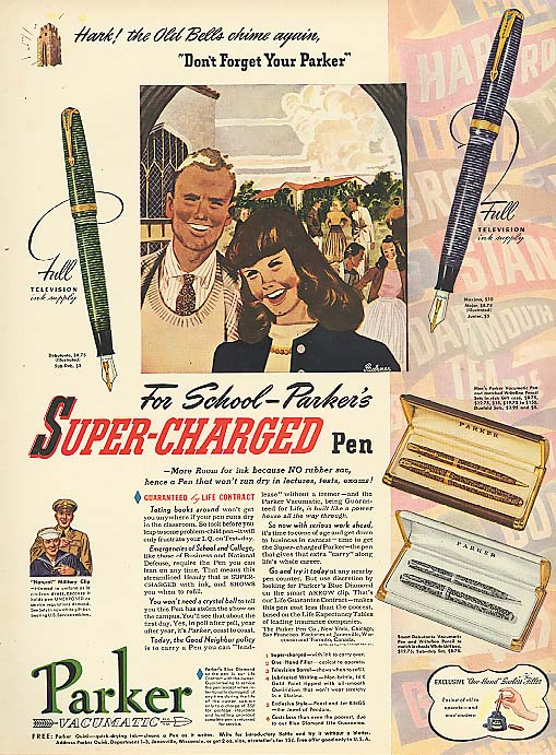 Image for For school Parker's Super-Charged pen ad 1941