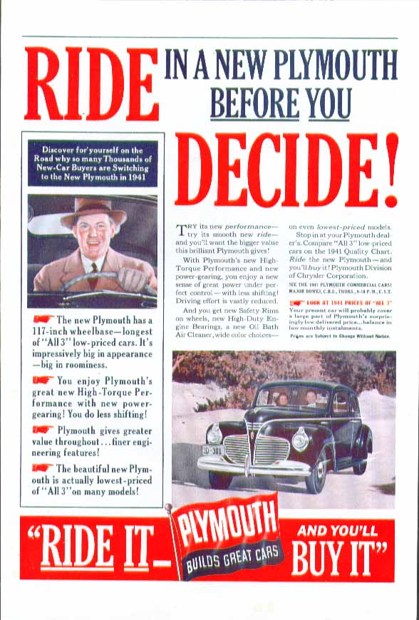 Image for Ride in a new Plymouth before you decide! Ad 1941