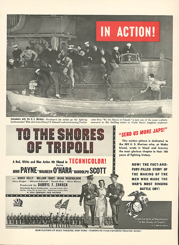 Image for To the Shores of Tripoli movie ad Maureen O'Hara 1942