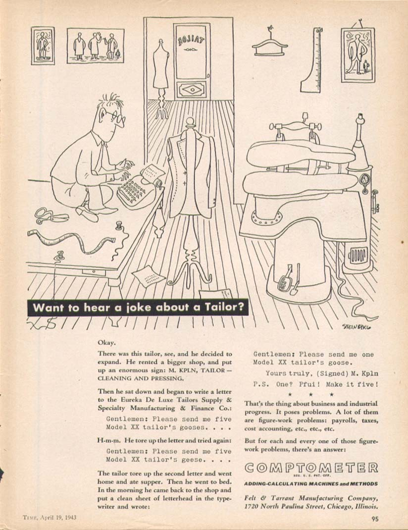 Image for A joke about a tailor Comptometer ad 1943 Steinberg