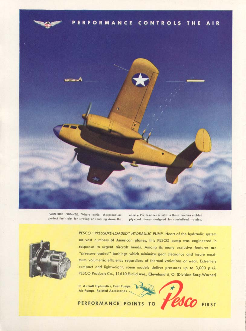 Image for Performance controls air Fairchild Gunner Pesca ad 1944