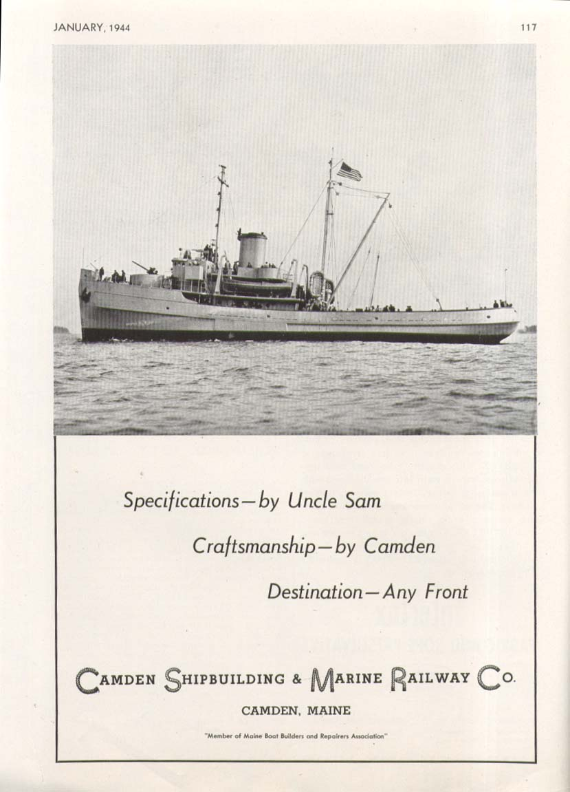 Image for US Navy Sea Tug by Camden Shipbuilding ME ad 1944