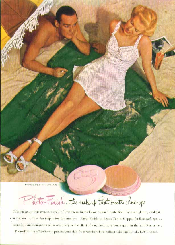Image for Photo-Finish make-up with polka-dot swimsuit ad 1944