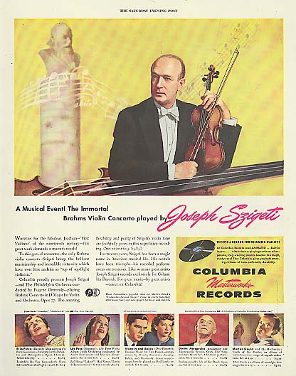 Image for Violinist Joseph Szigeti for Columbia Masterworks Records ad 1946