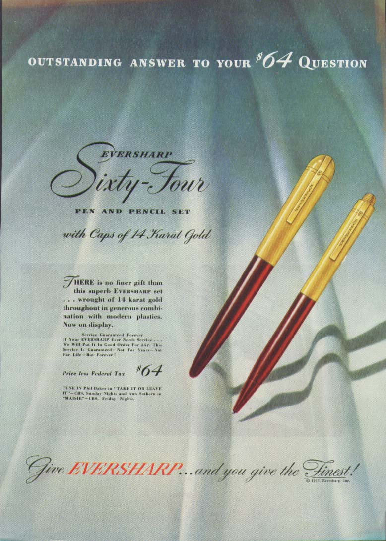 Image for Outstanding answer Eversharp 64 Pen & Pencil ad 1946