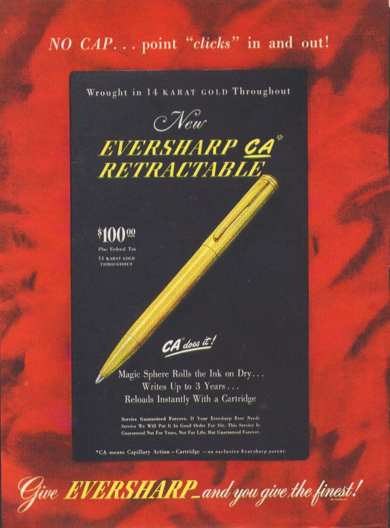 Image for Eversharp CA Retractable ballpoint pen ad 1946