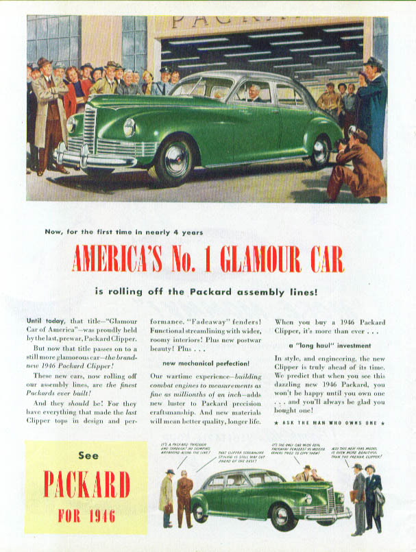 Image for America's No. 1 Glamour Car Packard ad 1946