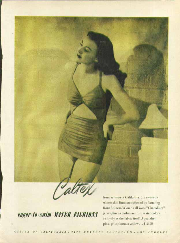 Image for Caltex Eager-to-Swim Water Fashions swimsuit ad 1946