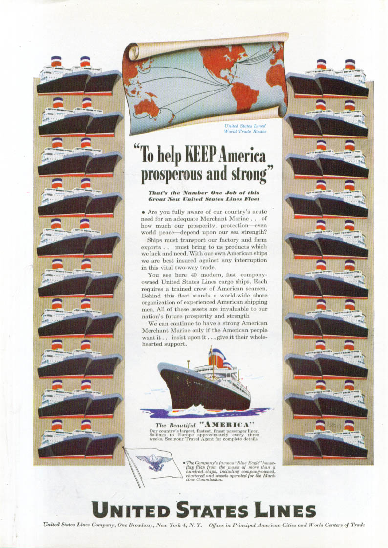 Image for Keep America prosperous United States Lines ad 1947
