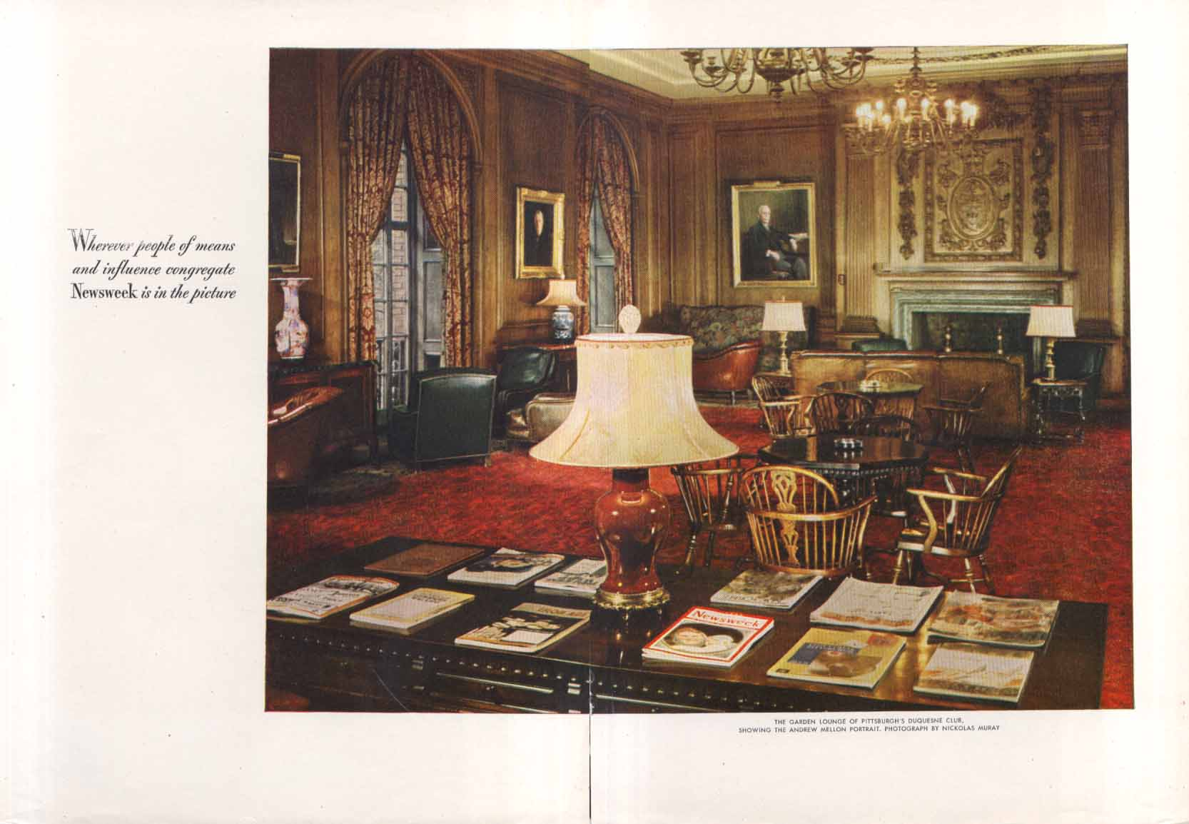 Image for Newsweek at Duquesne Club Pittsburgh PA  ad 1947 Muray