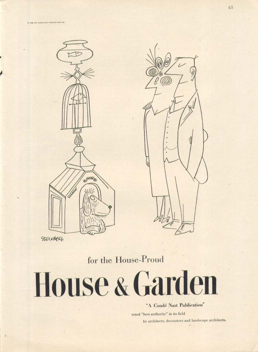 Image for Doghouse birdcage fish House & Garden ad 1948 Steinberg