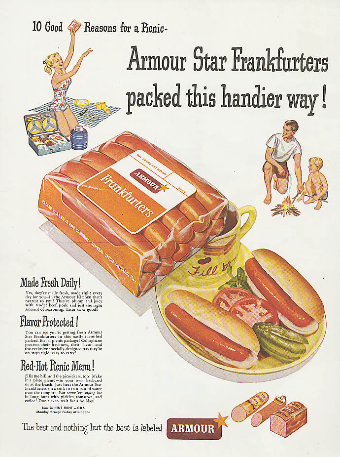 Image for Armour Star Frankfurters picnic packed ad 1948