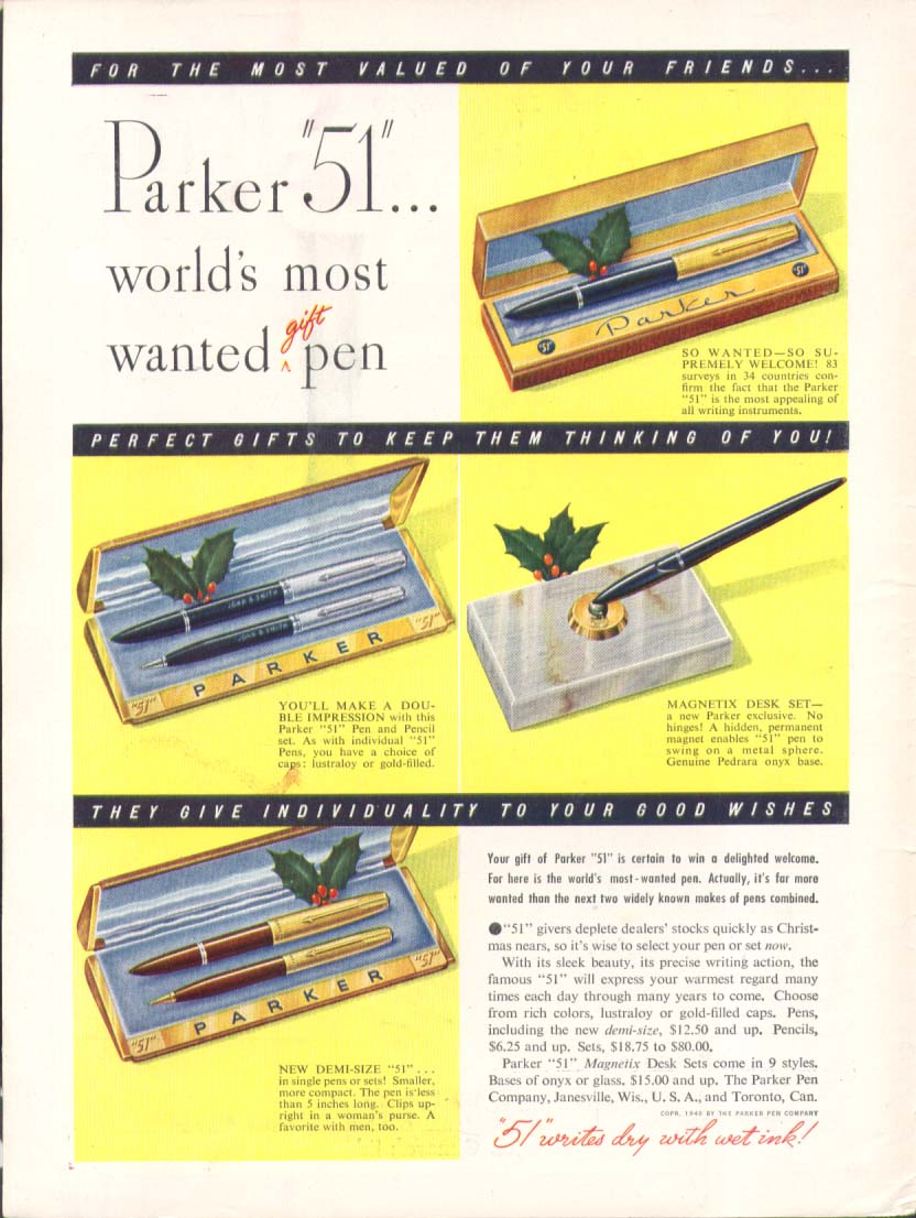 Image for World's most wanted gift pen Parker 51 ad 1948