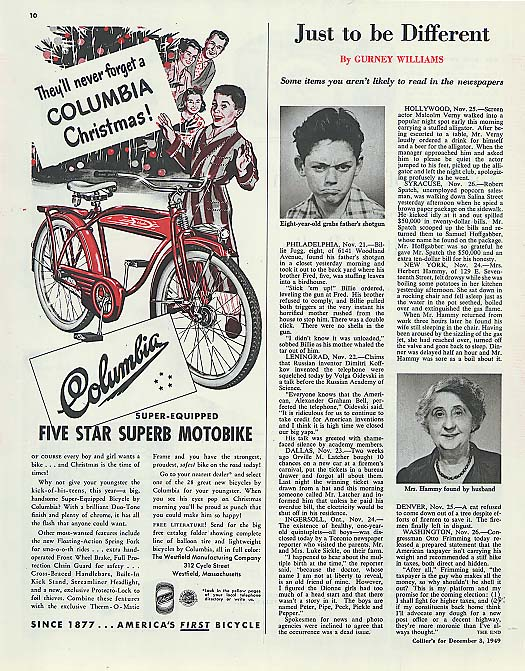 Image for Columbia Motobike for Christmas bicycle ad 1949