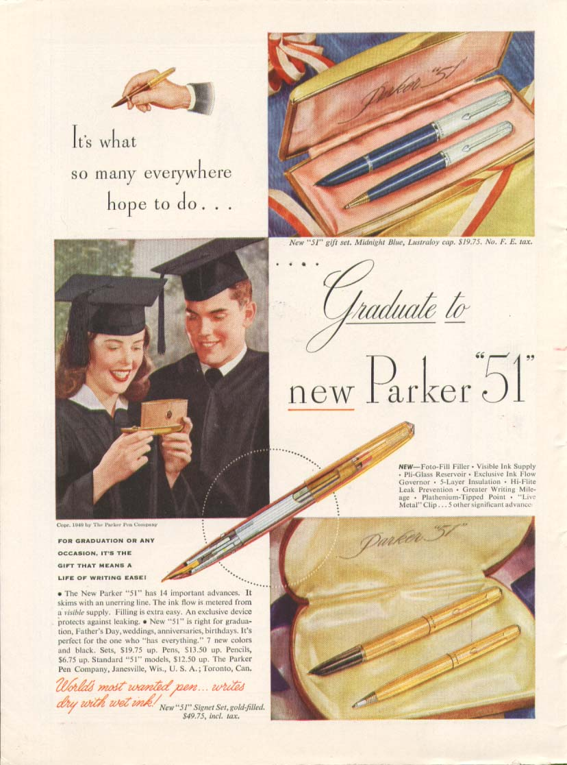 Image for Graduate to new Parker 51 fountain pen ad 1949