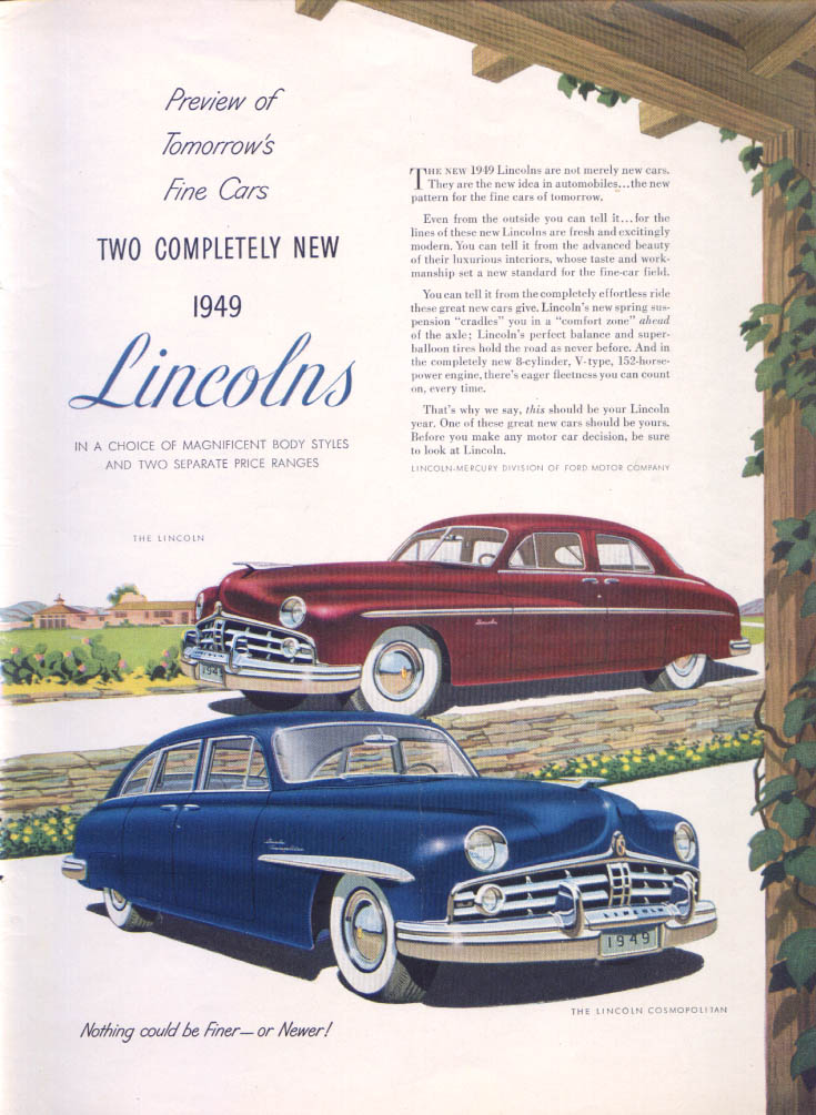 Image for Lincoln Preview of Tomorrow's Cosmopolitan ad 1949