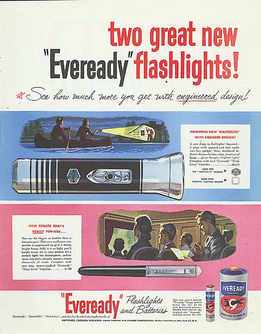 Image for 2 new Eveready Flashlights Masterlite & Penlite ad 1950