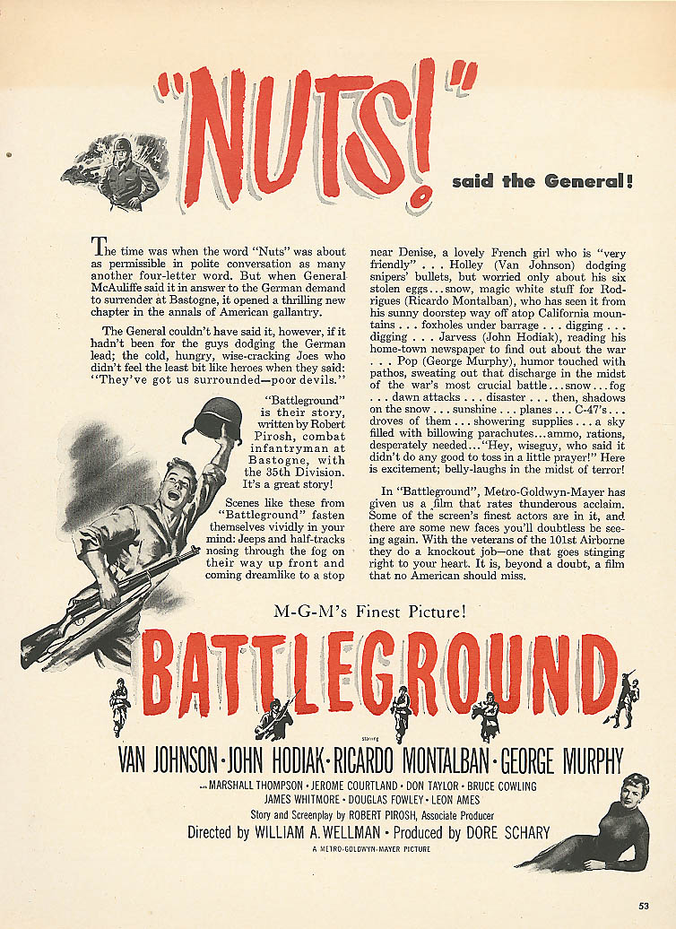 Image for Battleground ad Van Johnson John Hodiak 1950