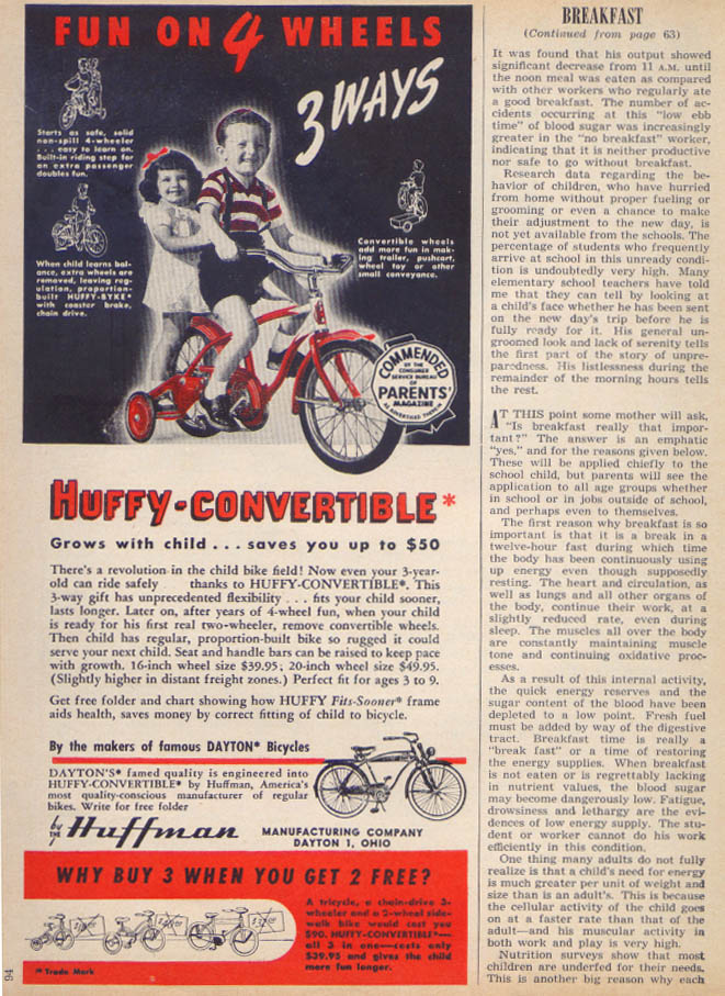 Image for Huffy-Convertible training wheel bicycle ad 1950
