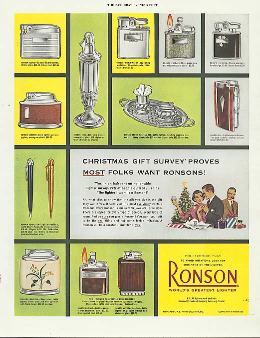 Image for Christmas Giuft Survey Proves Ronson Lighter ad 1952
