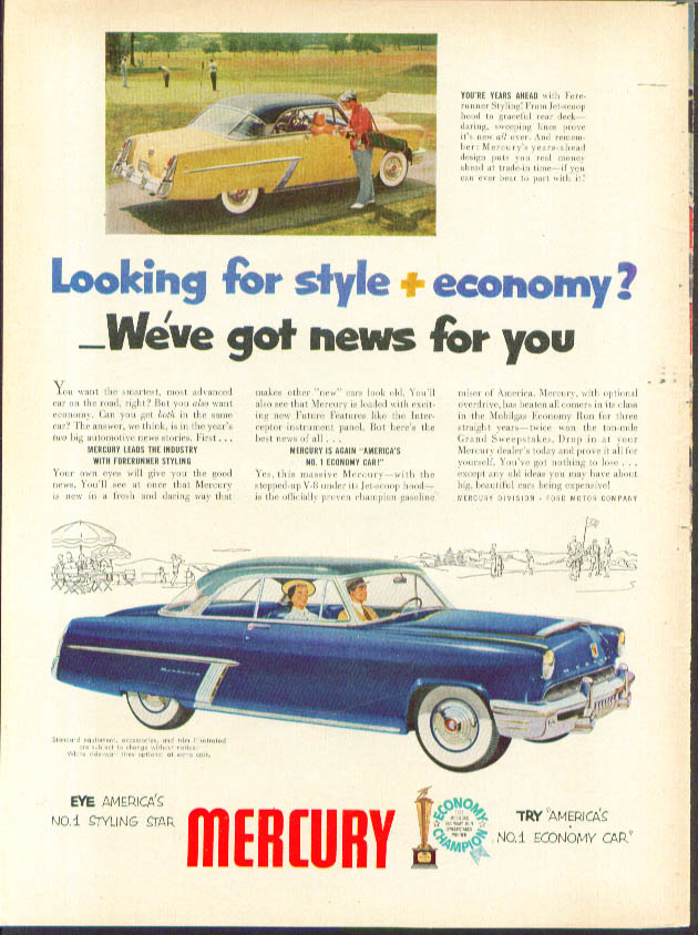 Image for Looking for style + economy? 1952 Mercury ad