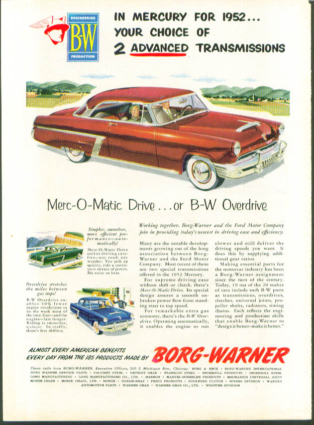 Image for 2 advanced transmissions 1952 Mercury ad Borg-Warner